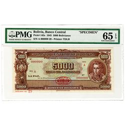 Banco Central de Bolivia. 1945. Specimen Banknote.