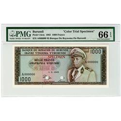 Banque du Royaume du Burundi. 1965. Color Trial Specimen Banknote.