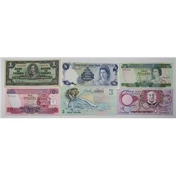 British Colonies, 1937-1995 Banknote Assortment, Lot of 13 Issued Notes.