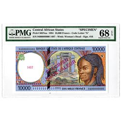 Banque des Etats de L'Afrique Centrale. 1994. Specimen Banknote.