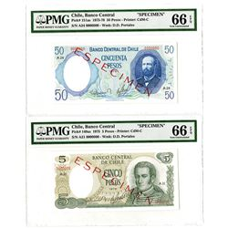 Banco Central de Chile. 1975-1978. Pair of Specimen Banknotes.