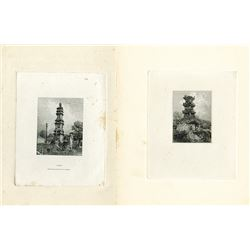 Chinese Towers, Large Die Proofs by American Bank Note Company, ca. 1920-30 Possibly Used on Banknot