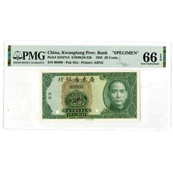 """Kwangtung Provincial Bank, 1935 """"Pak Hoi"""" Local Currency Issue Specimen."""