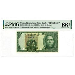 """Kwangtung Provincial Bank, 1935 """"Without Branch"""" Issue Specimen."""
