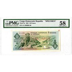 Banque Nationale du Congo. 1961. Specimen Banknote.