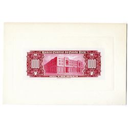 Banco Central de Costa Rica. ND (1952) Reverse Large Die Proof.