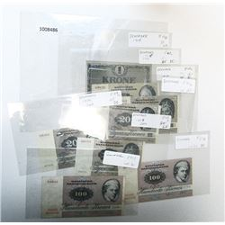 Danmarks Nationalbank. 1918-1989. Lot of 8 Issued Notes.