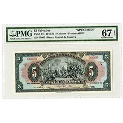 Banco Central de Reserva de El Salvador. 1949 Specimen Banknote.