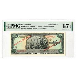 Banco Central de Reserva de El Salvador. 1969. Specimen Banknote.