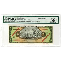 El Banco Central de Reserva de El Salvador, 1988. Specimen Banknote.