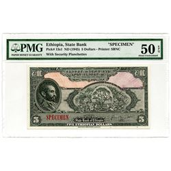 State Bank of Ethiopia. ND (1945). Specimen Banknote.