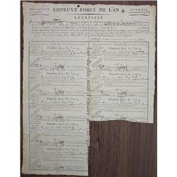 "French Loan of 1797, ""Emprunt Force D'Lan 4 - Recepisse."