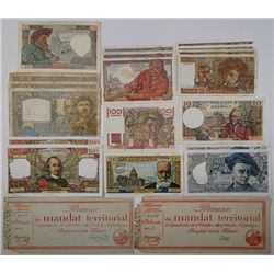 Banque De France 1940-1979 Lot of 19 Issued Notes And a Mandat Territorial.