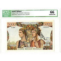 Banque de France. ND (1949). Specimen Banknote, Finest Specimen ever offered at Auction.