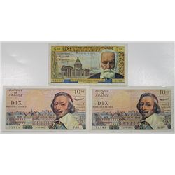 Banque de France. 1960-1963. Lot of 3 Issued Notes.