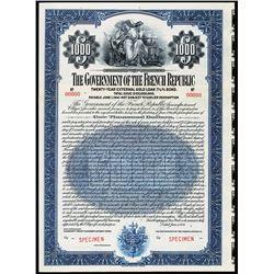 Government of the French Republic 1921 Specimen Bond.