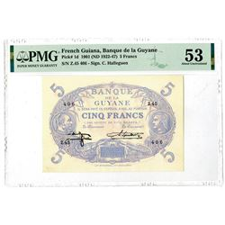 Banque De La Guyane, 1901 (ND 1922-47) Issue Banknote.