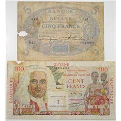 Banque de la Guyana & Institut d'Emission des Departements d'Outre-Mer. 1942-1961. Lot of 2 Issued N