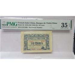 Banque de L'Indo-Chine, 1919 (ND 1920-23) Issue Banknote.