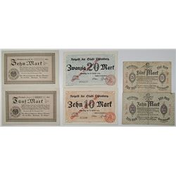 Aldenburg, Neurode, & Neuwied. 1918. Lot of 6 Issued Emergency Notgeld Banknotes.
