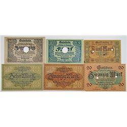 Apolda, D_beln, & Zwickau . 1918. Lot of 6 Notgeld Notes.