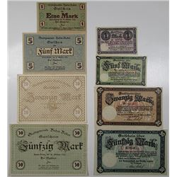 Baden-Baden & Cochem. 1918. Lot of 8  Emergency Notgeld Banknotes..
