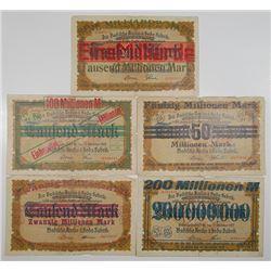 Badische Anilin- & Sodafabrik. 1922. Lot of 5 Issued Scrip Notes.