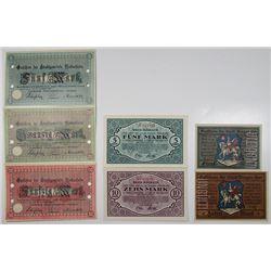 Bingen, Mosbach, & Neckarsulm. 1918. Lot of 7 Issued Emergency Notgeld Banknotes.
