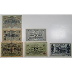Bonn-Siegkreis, Buer, & Memmingen. 1918 & 1919. Lot of 6 Issued Emergency Notgeld Banknotes.