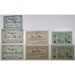 Bunzlau, Rochlitz, & Rudolstadt. 1918. Lot of 7 Issued Emergency Notgeld Banknotes.