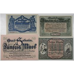 Chemnitz. 1918-1919. Lot of 4 Issued Emergency Notgeld Local Notes.