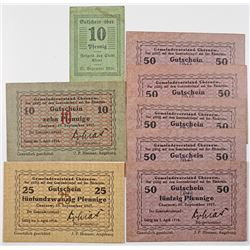 Chorzow & Cleve. 1917-1920. Lot of 8 Issued Notes.