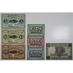 Esslingen, Exin, & P_¤neck. 1918. Lot of 7 Issued Emergency Notgeld Banknotes.