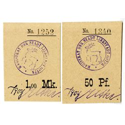 Liebstadt (Ostpreu¤en). ND (ca. 1914-1919). Lot of 2 Issued Emergency Notgeld Notes.
