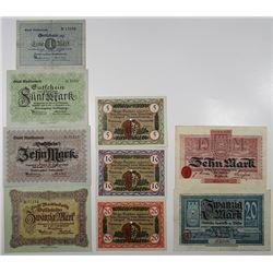 Marktredwitz, Nesselwang, & Wilster. 1918. Lot of 9 Issued Emergency Notgeld Banknotes.