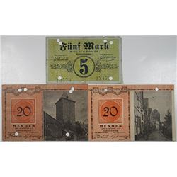 Menden. 1918. Lot of 3 Issued Emergency Notgeld Banknotes, the only Examples found in the collection
