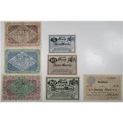 Neuss, Vegesack, & Velbert. 1918. Lot of 7 Issued Emergency Notgeld Banknotes.