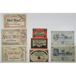 Norder-Dithmarschen, Offenburg & Pasing. 1918. Lot of 8 Issued Emergency Notgeld Banknotes.