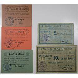 N_renberg & Neuhaus. 1918. Lot of 5 Issued Emergency Notgeld Banknotes.