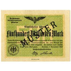 Reichsbahndirection. 1923. Specimen Regional Railroads Banknote.