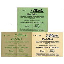 Schlesische Kohlen- & Cokes-Werke. 1914. Lot of 3 Issued Notgeld Emergency Scrip Notes.