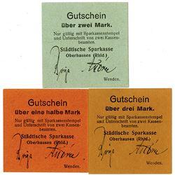 Stadtische Sparkasse, Oberhausen, (Rhld.). ND (ca. 1917-1918). Lot of 3 Issued Notgeld Emergency Not