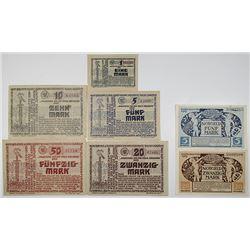 Steinburg & Wolfstein. 1918. Lot of 7 Issued Emergency Notgeld Banknotes.