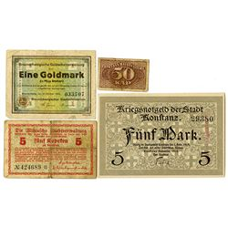 German Notgeld from Various Issuers. 1915-1923. Lot of 4 Issued Notes.