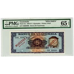 Banco de Guatemala. 1955-1957. Specimen Banknote.