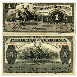 Banco Americano de Guatemala. 1914-1919. Lot of 2 Issued Notes.