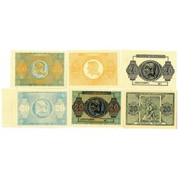 Kingdom of Greece. 1944. Lot of 6 Unlisted Progress Proof Notes for 20 Drachma Note, P-323.