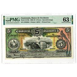 Banco de Occidente. 1916 Issued Banknote.