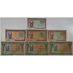 Banque Central de la Republique de Guinee. 1960. Lot of 7 Issued Notes.