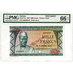 Banque Centrale de la Republique de Guinee. 1960. Specimen Banknote.